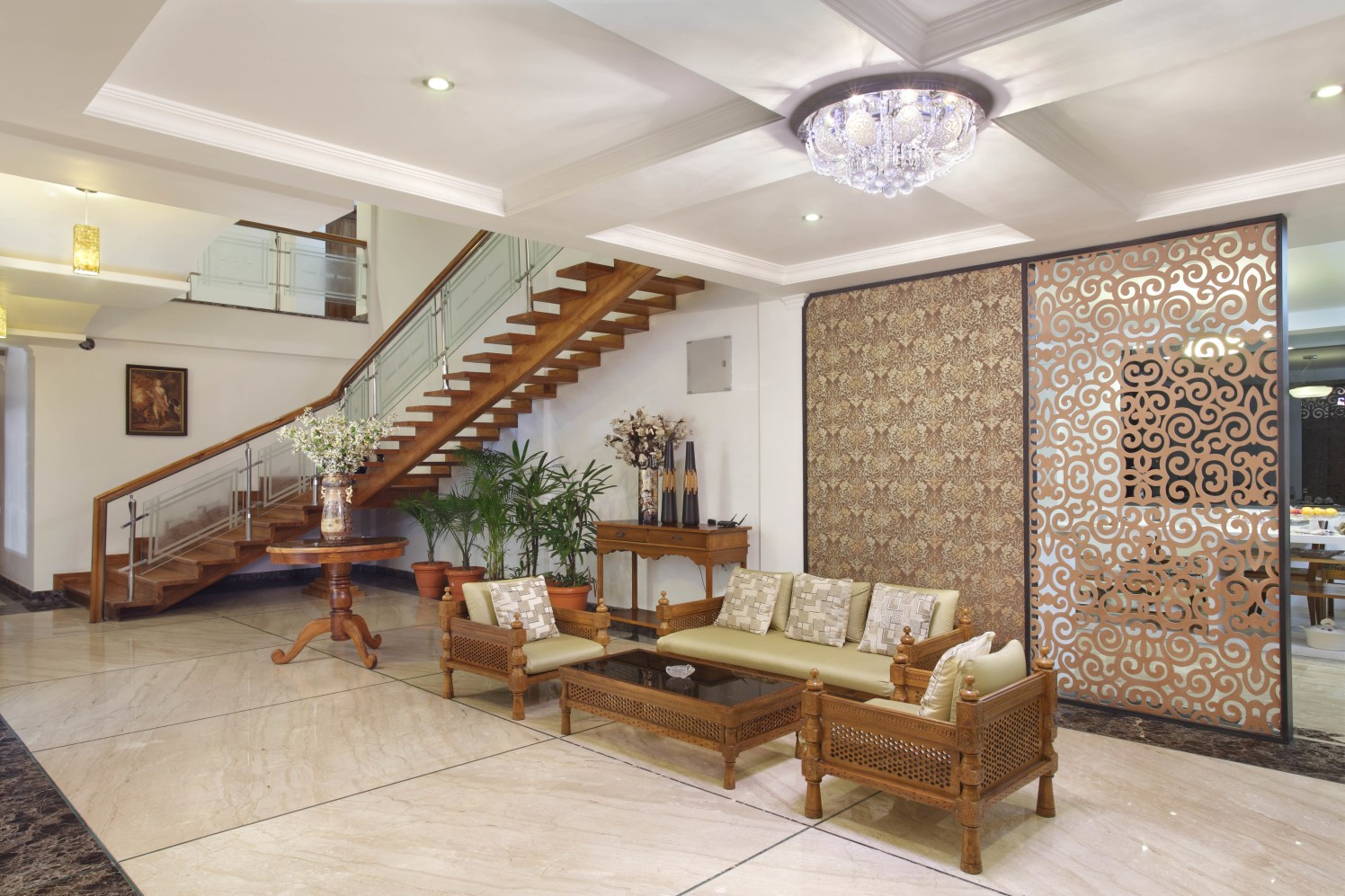 Traditional Style Living Room With Marble Flooring by Prashant Ghosh Living-room Traditional | Interior Design Photos & Ideas
