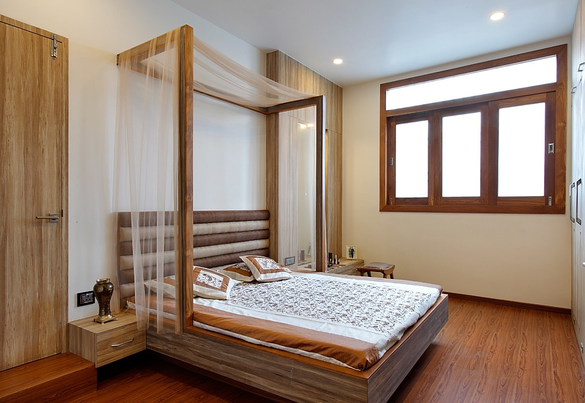 Bedroom With Wooden Flooring by Prashant Ghosh Bedroom Modern | Interior Design Photos & Ideas