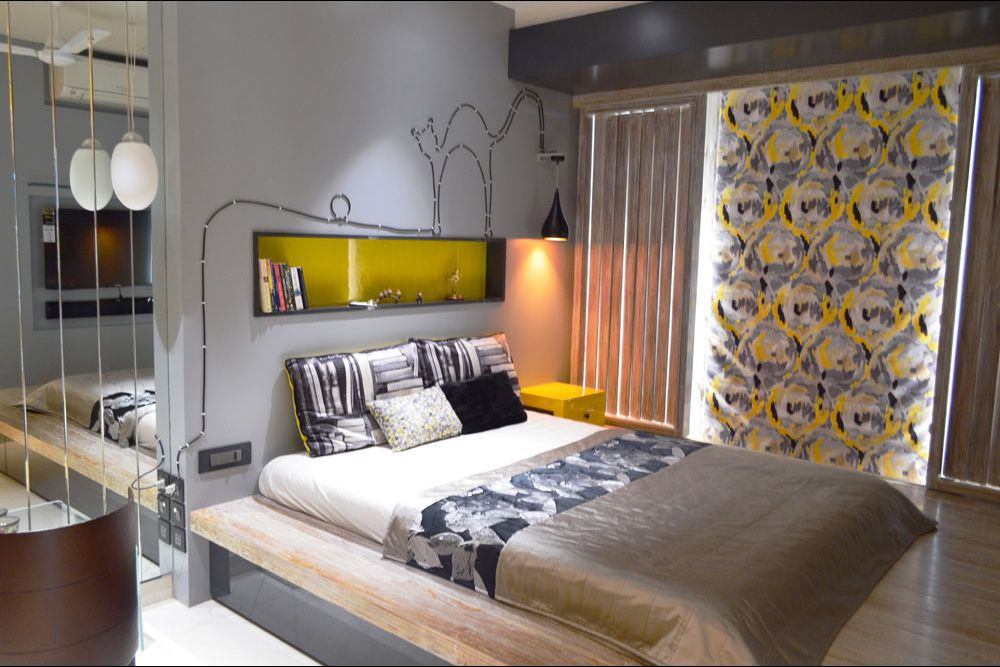 Master bedroom with white theme and tainted yellow throughout by Gocosy.com Bedroom Modern | Interior Design Photos & Ideas
