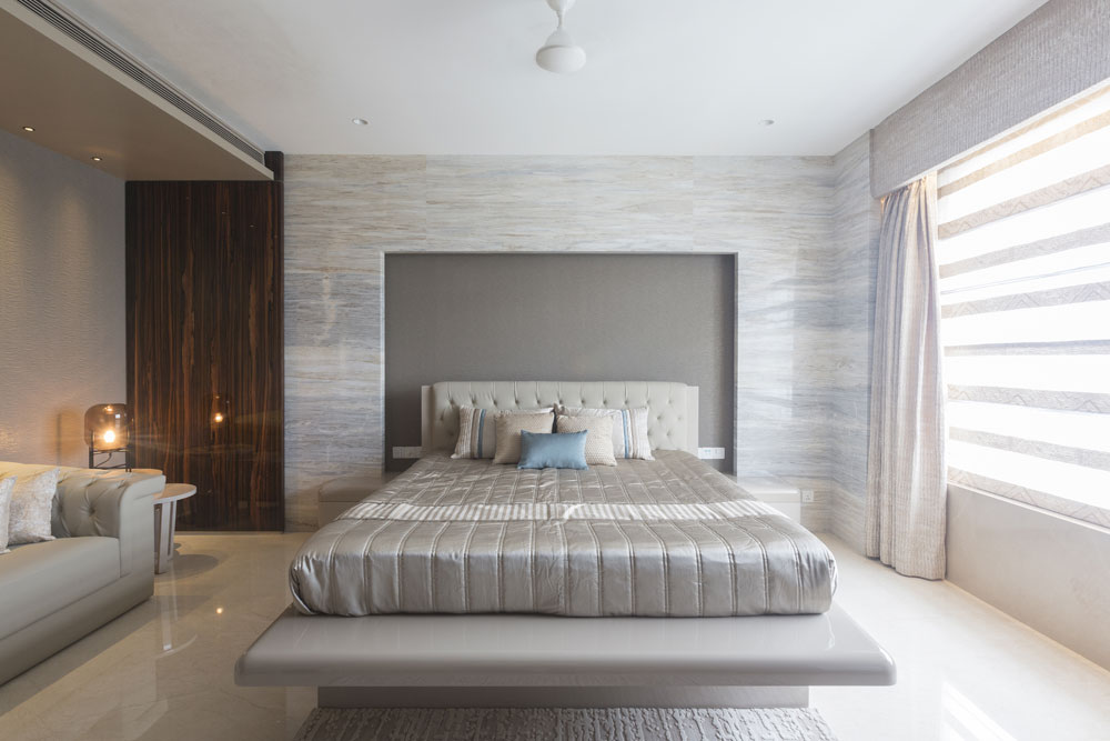 Bedroom with different Shades Of Grey by Gocosy.com Contemporary | Interior Design Photos & Ideas