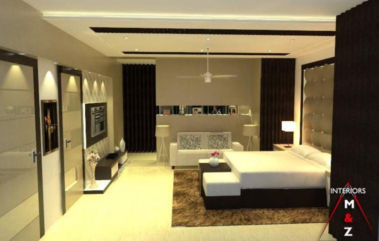Bedroom with abstract wall design and false ceiling by Zubairul Haque Bedroom Contemporary | Interior Design Photos & Ideas
