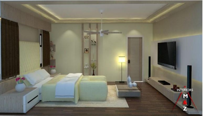 Bedroom with abstract wall design and tv unit by Zubairul Haque Bedroom Contemporary | Interior Design Photos & Ideas