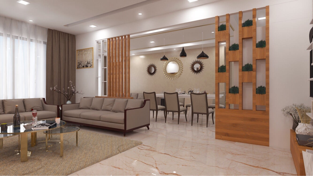 Living Room With Sectional Sofas And Beige Carpet by Rimpy Shah Living-room Contemporary | Interior Design Photos & Ideas