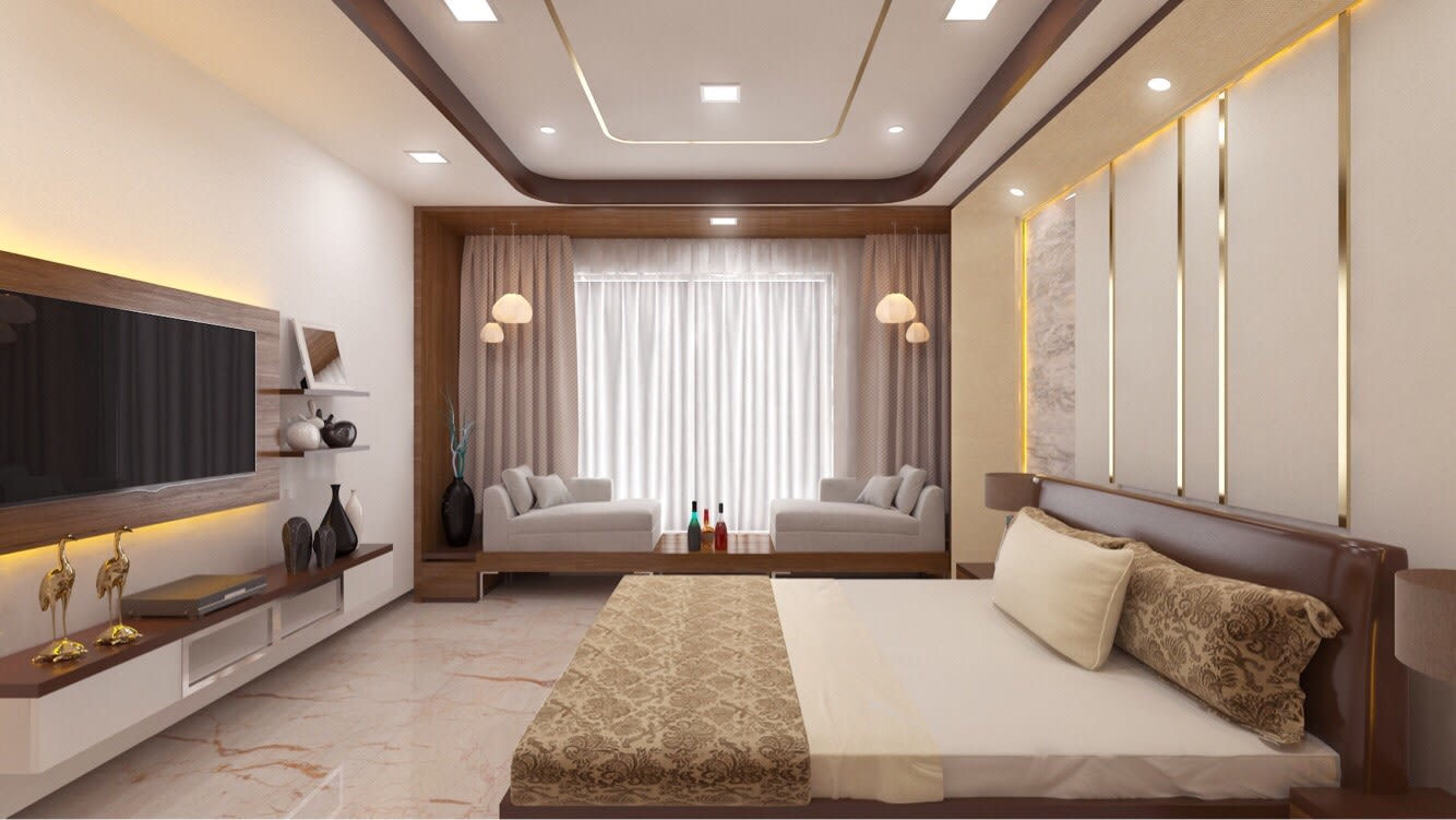 Bedroom With Metallic HeadCover And Touches Of Wood by Rimpy Shah Bedroom Contemporary | Interior Design Photos & Ideas