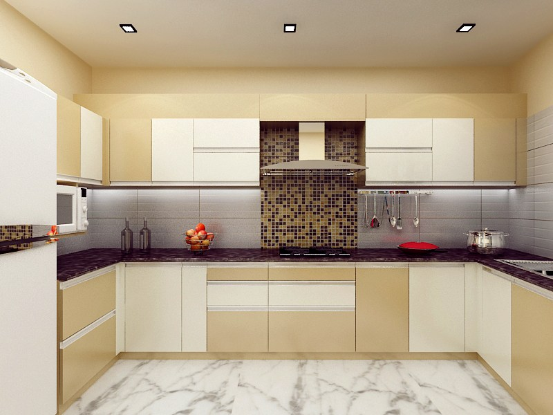 Beige And White Themed Modular Kitchen by Mehak Seth Modular-kitchen | Interior Design Photos & Ideas