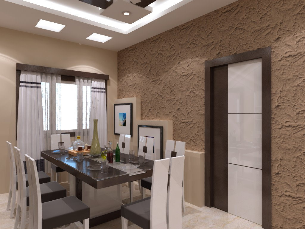 Dining Room With White Cushioned Chairs And Rough Wall by Mehak Seth Dining-room Contemporary   Interior Design Photos & Ideas