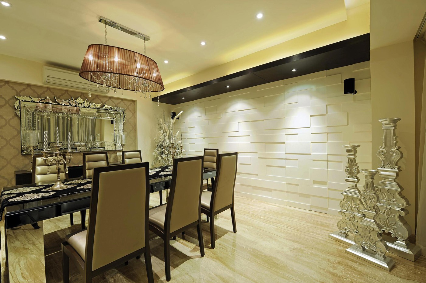 golden dining room by Hitesh Kacha