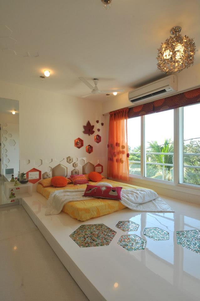 Floor Bed And Golden Chandelier by Sonali Shah Bedroom Contemporary | Interior Design Photos & Ideas