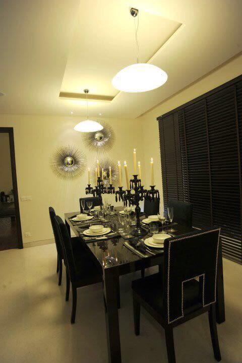 Black Themed Dining Area by Karan Kalra Modern | Interior Design Photos & Ideas