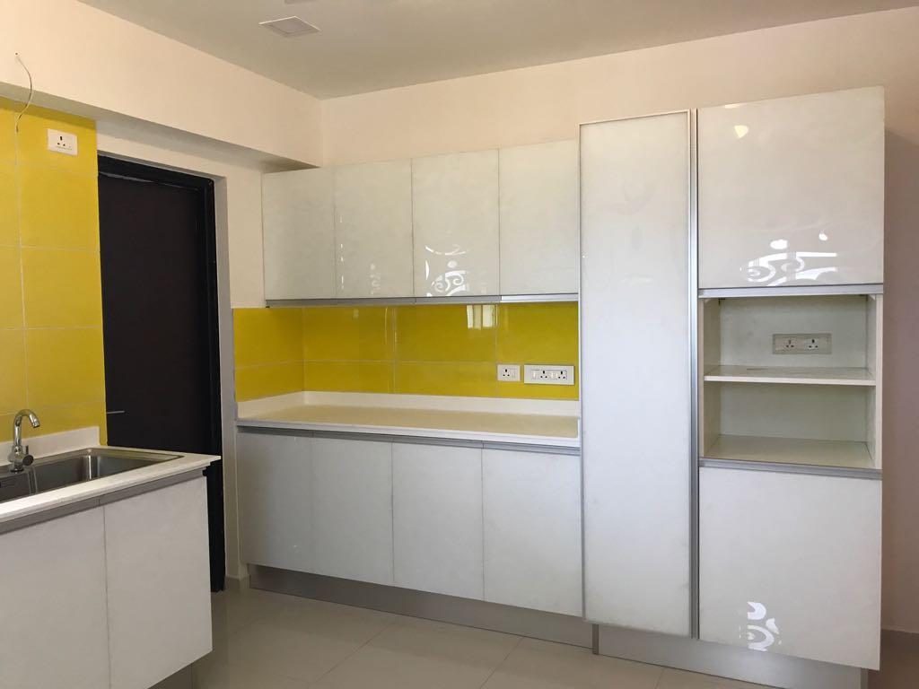 Yellow In White Kitchen Space by Viru Modern | Interior Design Photos & Ideas