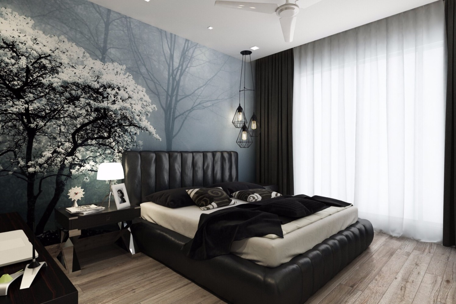 Bedroom with abstract wall design by Jeenal Mehta Bedroom Contemporary | Interior Design Photos & Ideas