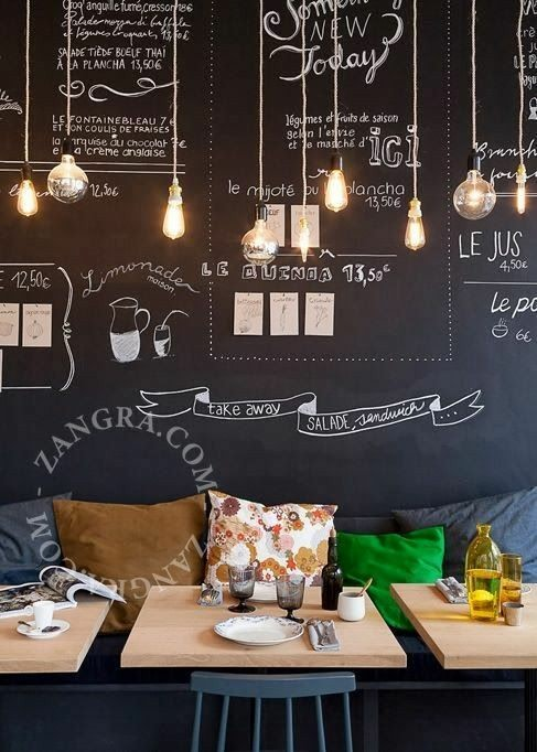 Artistic Cafe With Black Textured Wall by MK interiors Contemporary | Interior Design Photos & Ideas