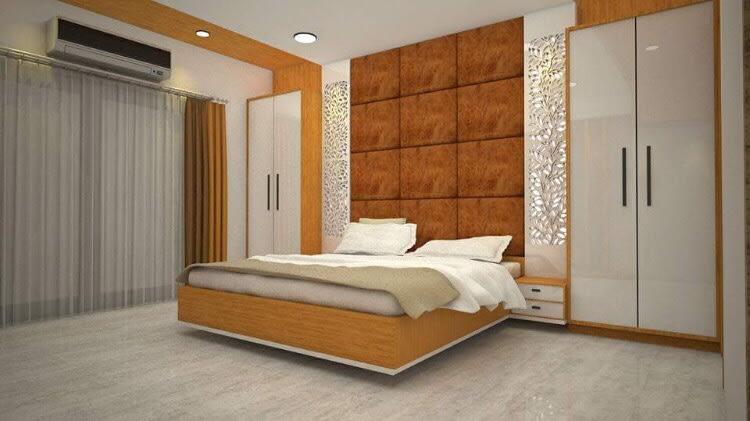Hued bedroom by Ar. Nitin Sharma Bedroom Contemporary | Interior Design Photos & Ideas