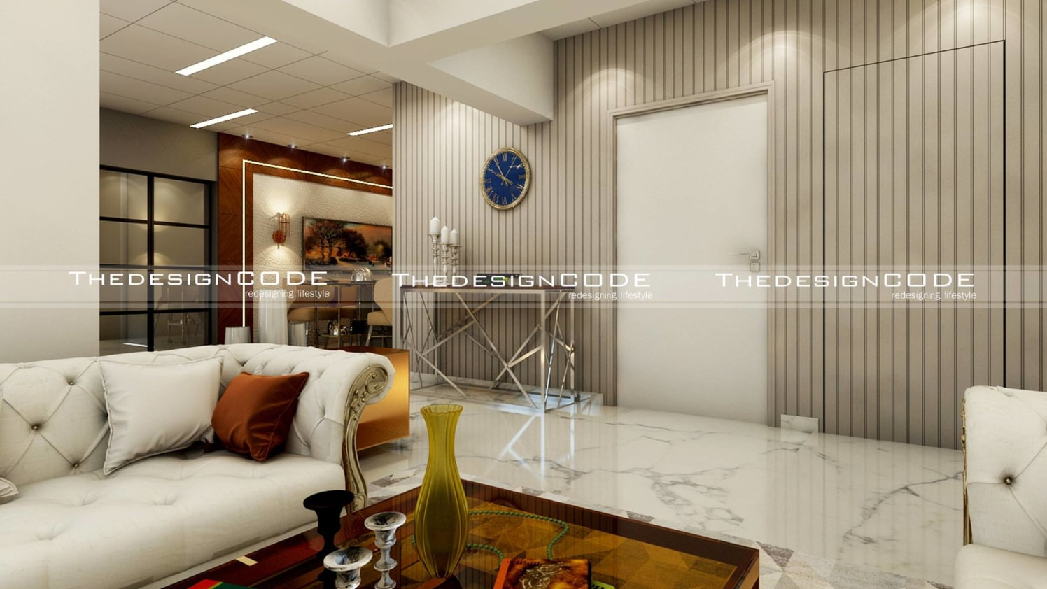 Living Room With Marble Flooring by Prashant jain Living-room Contemporary | Interior Design Photos & Ideas