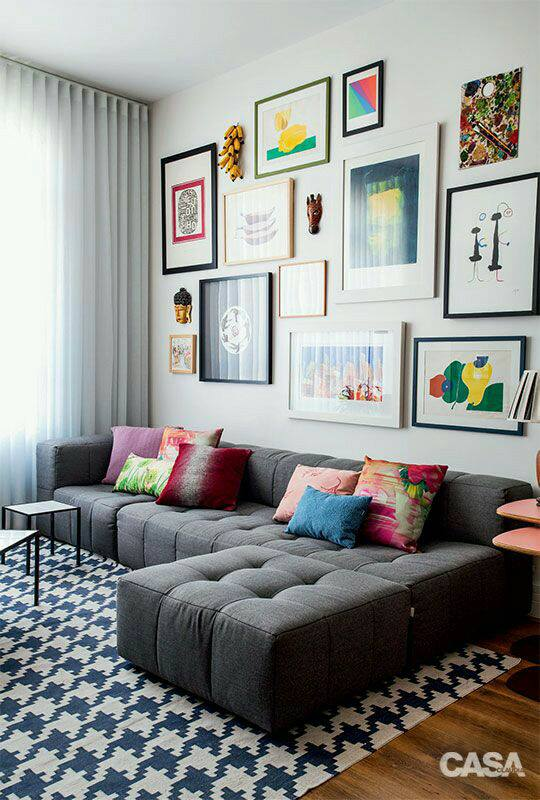 Linen Shaded Living Room With Grey Sofa Set by Live Fabulous Living-room Contemporary | Interior Design Photos & Ideas