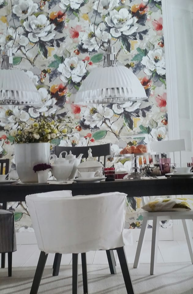 White Flowery Textured Dining Area by Live Fabulous Dining-room Contemporary | Interior Design Photos & Ideas