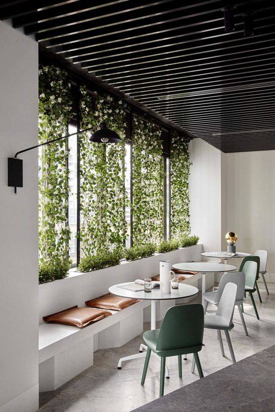 Window Planting On Restaurant Window by Live Fabulous Contemporary | Interior Design Photos & Ideas