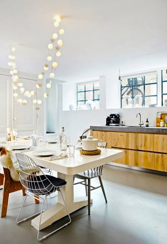 Antique White Dining Room With String Light by Live Fabulous Living-room Contemporary | Interior Design Photos & Ideas