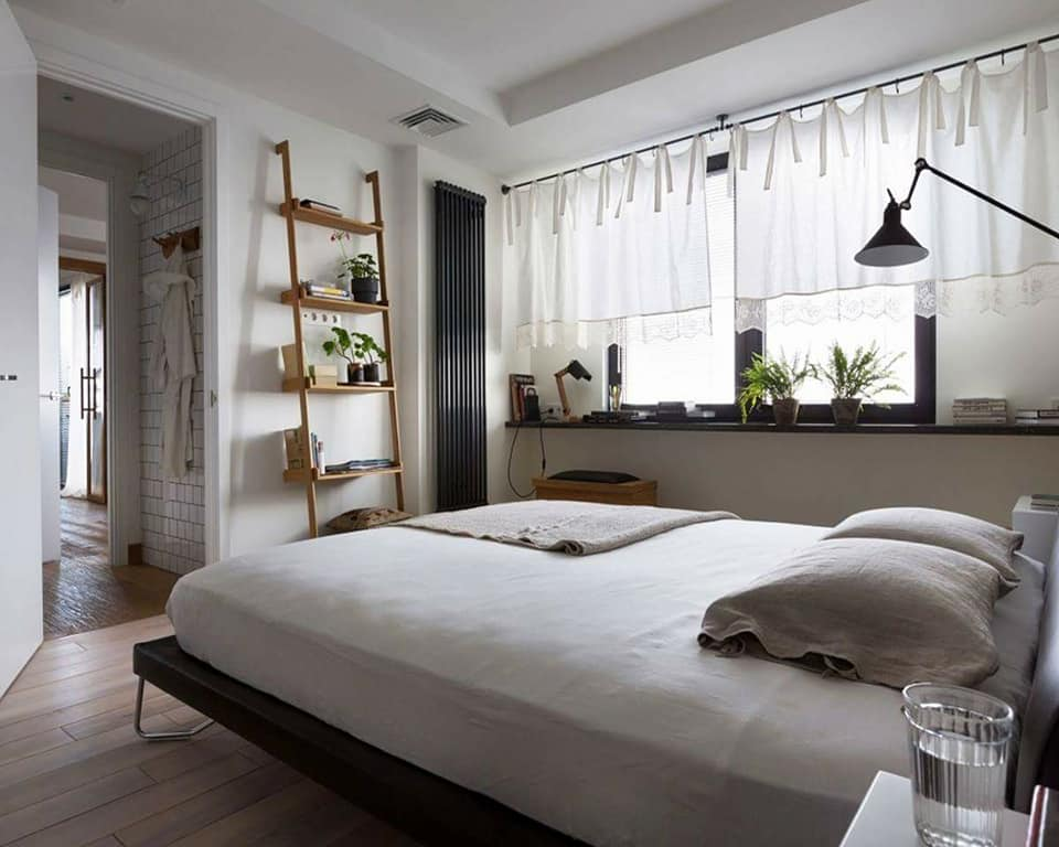 Ghost White Shaded Bedroom With Ladder Shelf by Live Fabulous Bedroom Modern | Interior Design Photos & Ideas