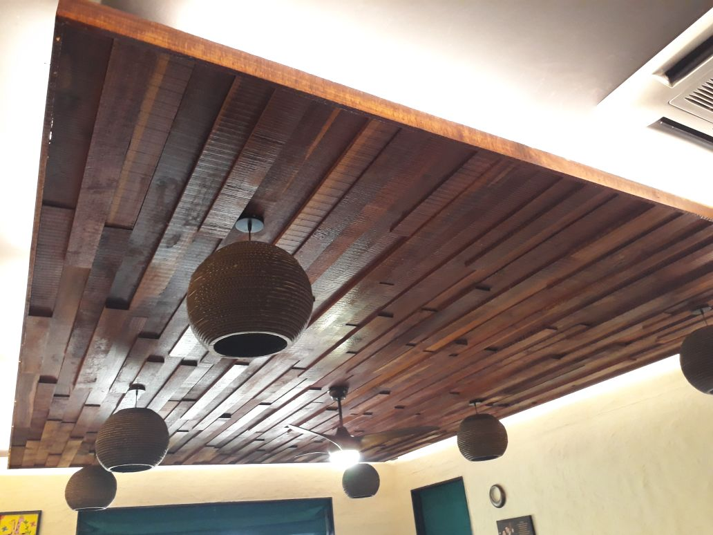 Wooden Tiled False Ceiling by Madhu Kailashi Living-room Contemporary | Interior Design Photos & Ideas
