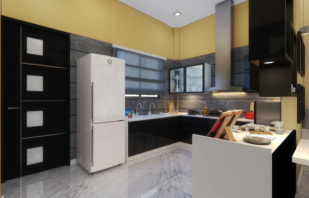 L-shaped Open Peninsula Kitchen by Madhu Kailashi