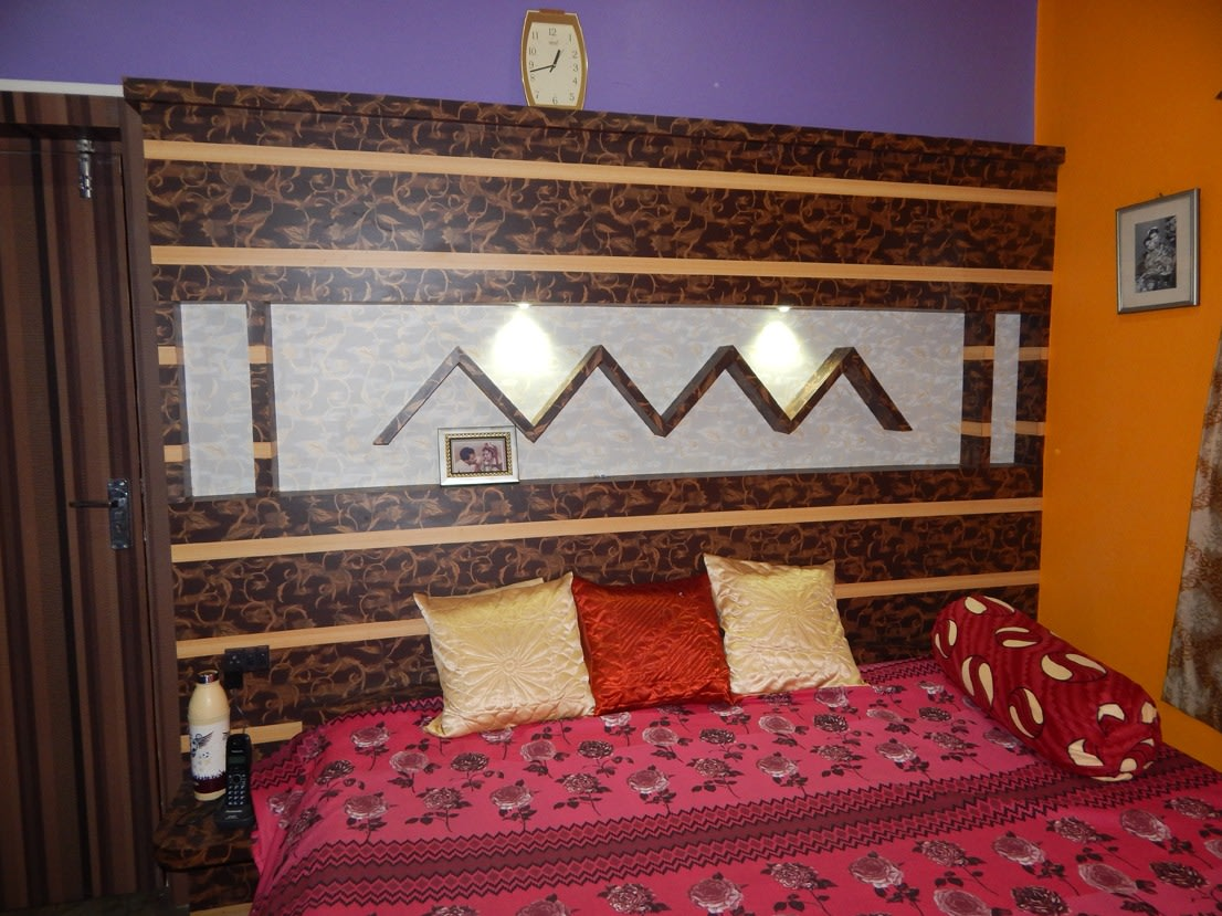 Brown Headboard by Manik Chowdhury Bedroom Contemporary | Interior Design Photos & Ideas