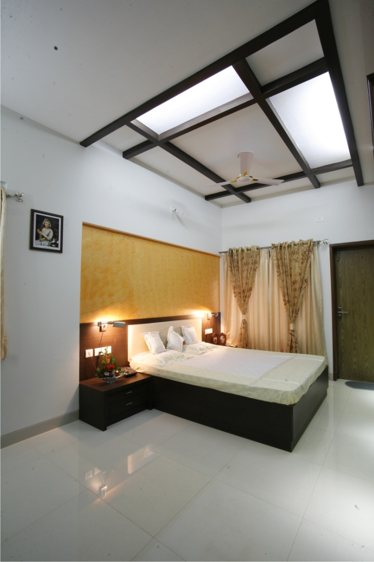 Ebony Wood Queen Size Bed With White Makrana Marble Tiles by Rajas Joshi Bedroom Modern | Interior Design Photos & Ideas