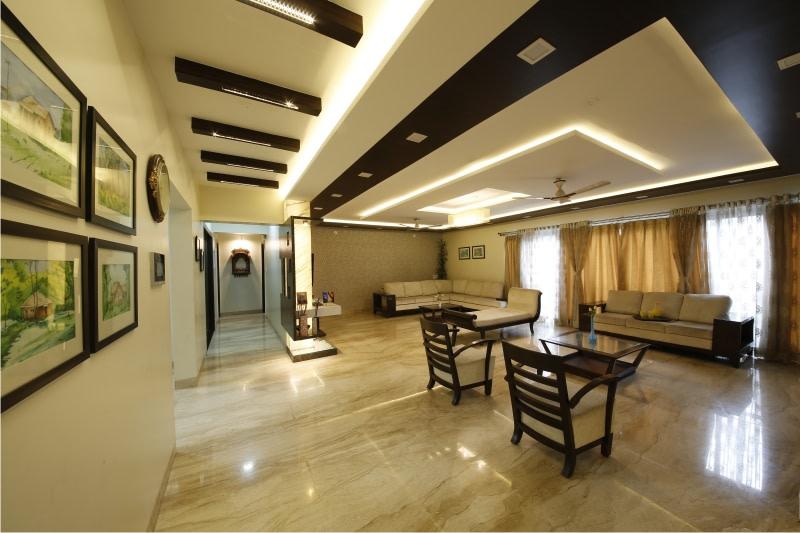 Beige Mid Century Modern Sofa and Beige Travertine Tiles by Rajas Joshi Living-room Modern | Interior Design Photos & Ideas