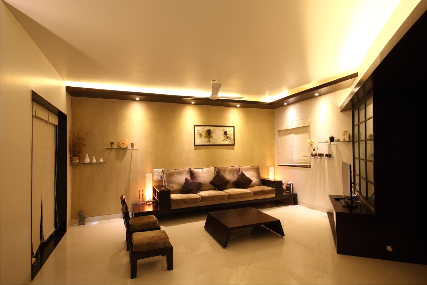 Beige Mid Century Modern Sofa With White Travertine Tiles by Rajas Joshi Living-room Modern | Interior Design Photos & Ideas