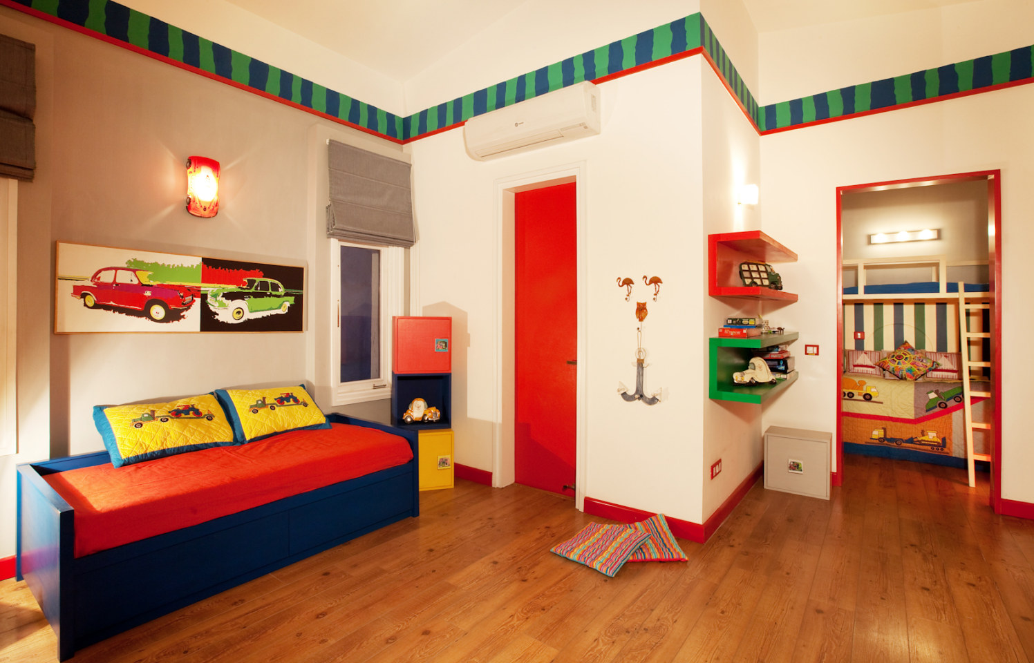 Kids Bedroom With Wooden Flooring And Small Cushioned bed by narayan moorthy Bedroom Modern | Interior Design Photos & Ideas