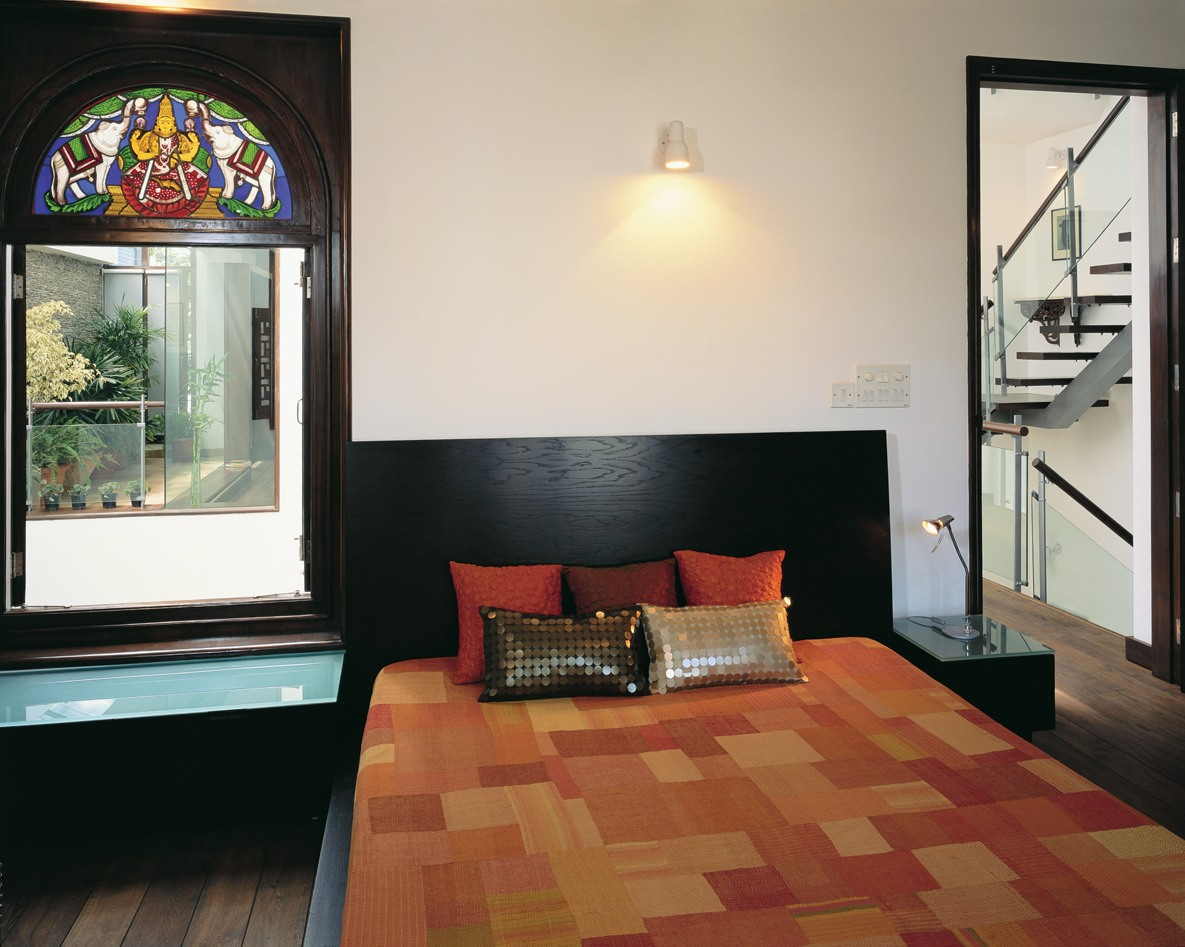 Bedroom With Black Head Cover And Traditional Window Art by narayan moorthy Bedroom Modern   Interior Design Photos & Ideas