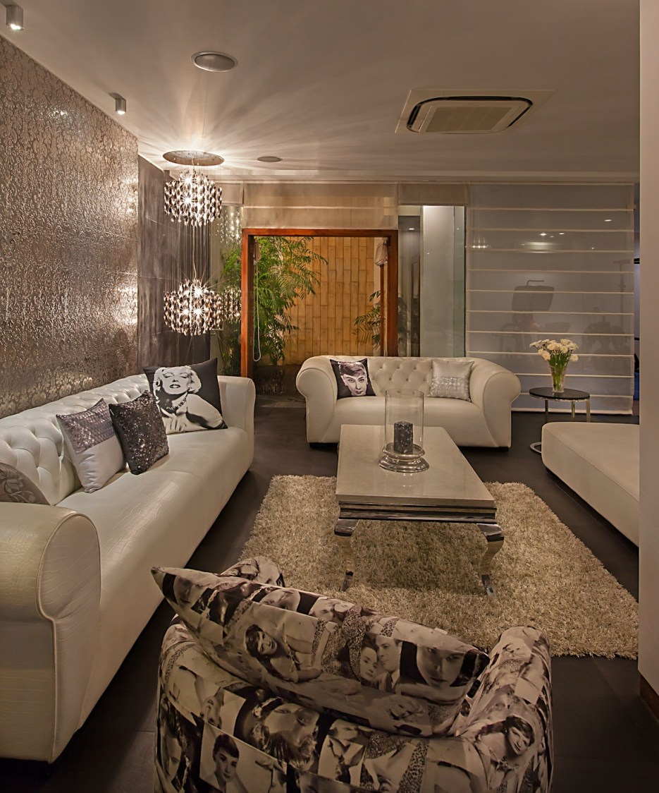 Pendant Lights And Black And White Sofa Sets In Rustic Living Room by narayan moorthy Living-room Modern | Interior Design Photos & Ideas