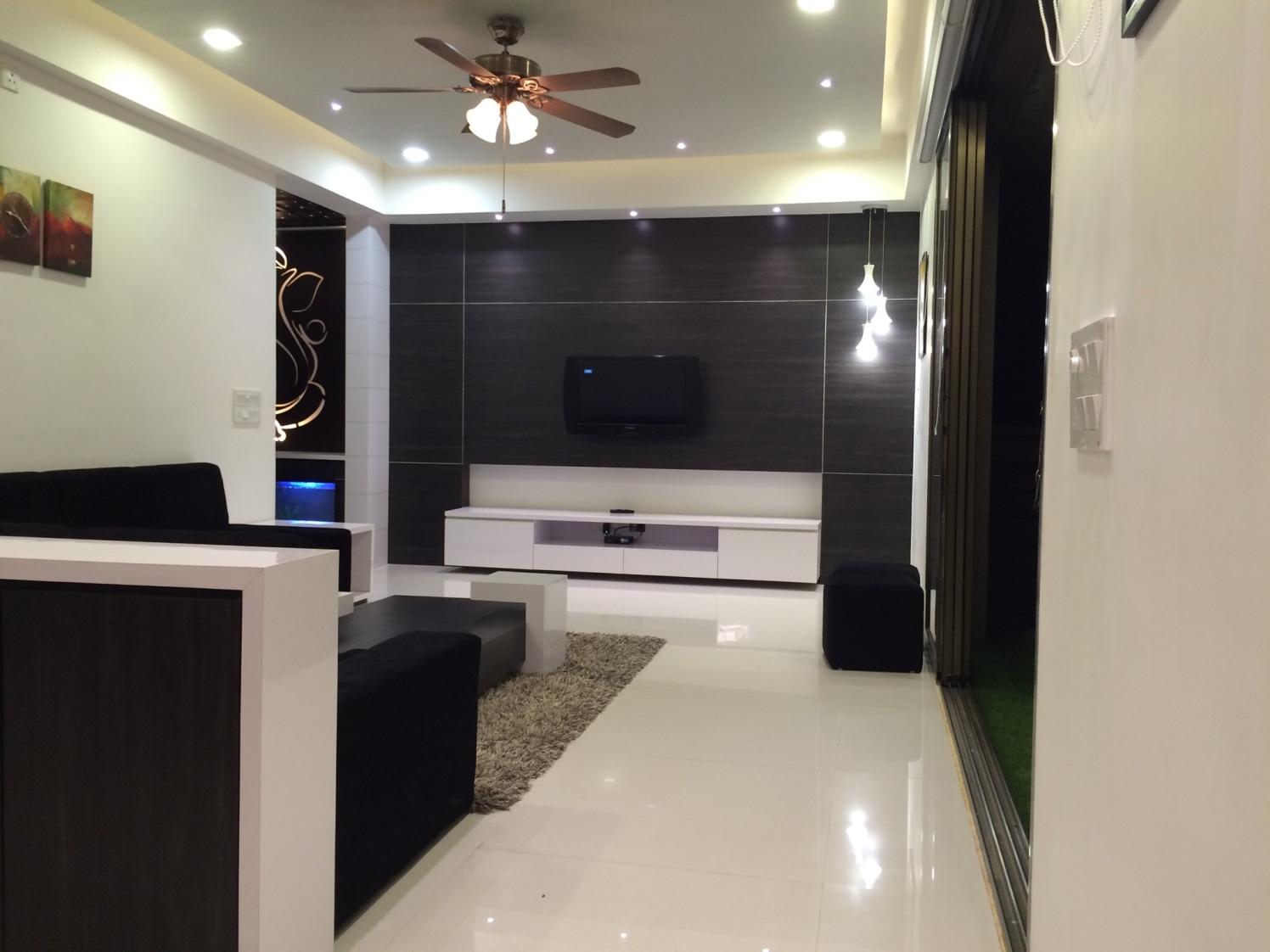 Spacious hallway with  L shape sofa  with marble flooring and false ceiling by Vatsal Hadvani Living-room Contemporary | Interior Design Photos & Ideas