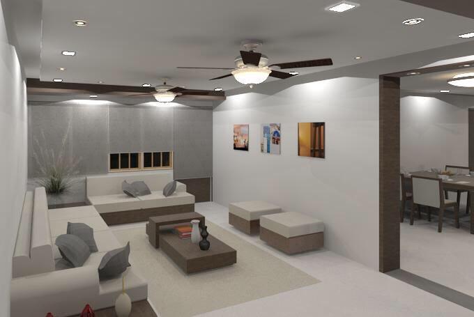 White sofa with false ceiling  and marble flooring by Vatsal Hadvani Living-room Minimalistic | Interior Design Photos & Ideas