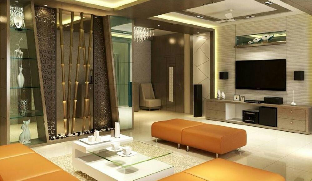 Golden Theme Living Room Decor With Orange Ottoman Chairs by Ryan Associates Living-room Modern | Interior Design Photos & Ideas
