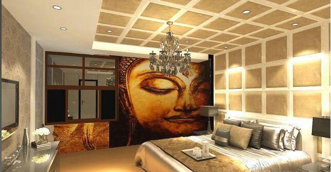 Well-Lit Bedroom With Low-Floor Beds and Golden Recessed Light by Ryan Associates Bedroom Eclectic | Interior Design Photos & Ideas