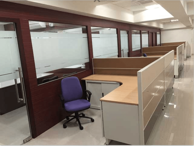 L shaped individual workstation cubicles with storage by Roshan Ashta