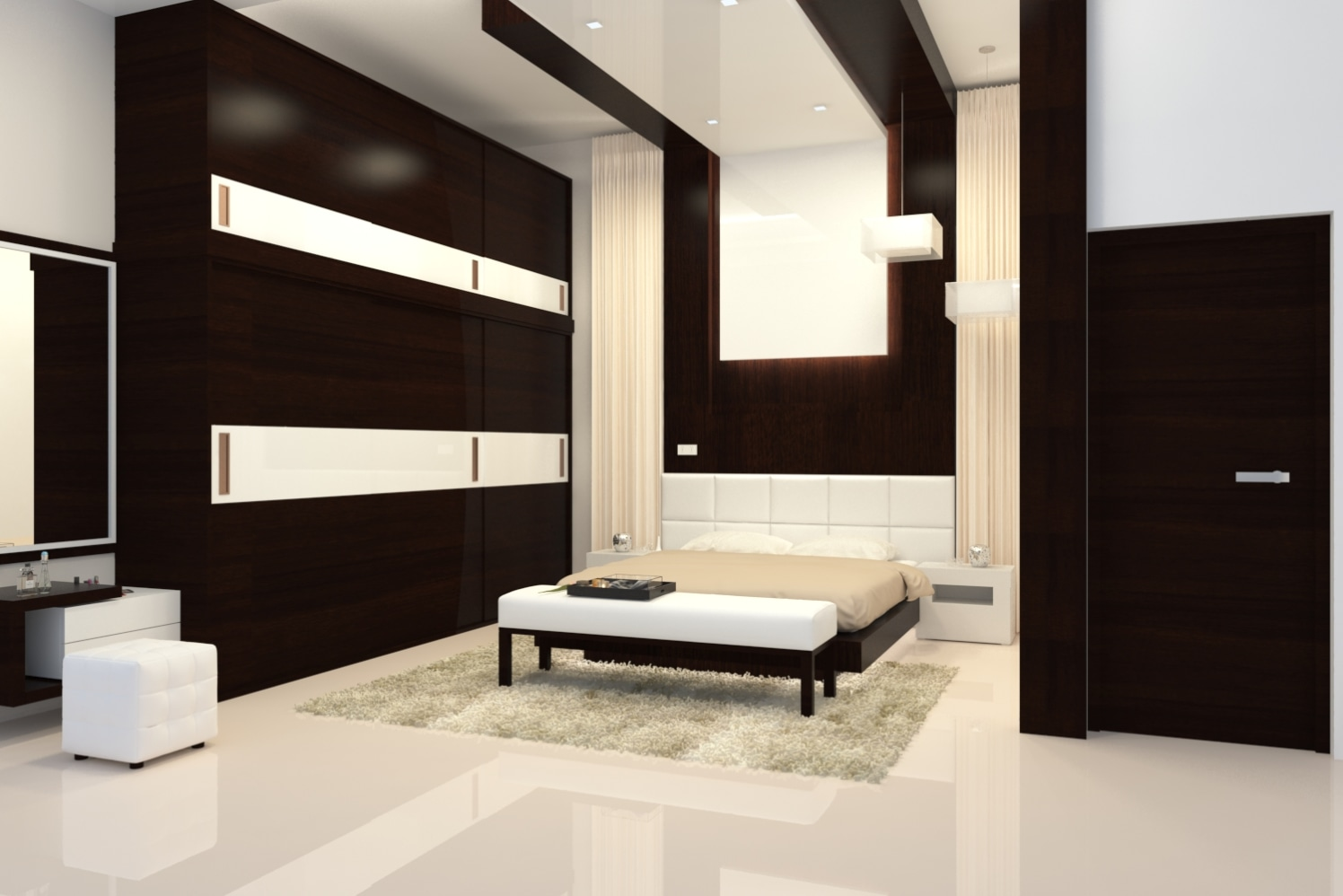 Extended wood work theme bedroom with high ceiling height by Roshan Ashta Contemporary | Interior Design Photos & Ideas