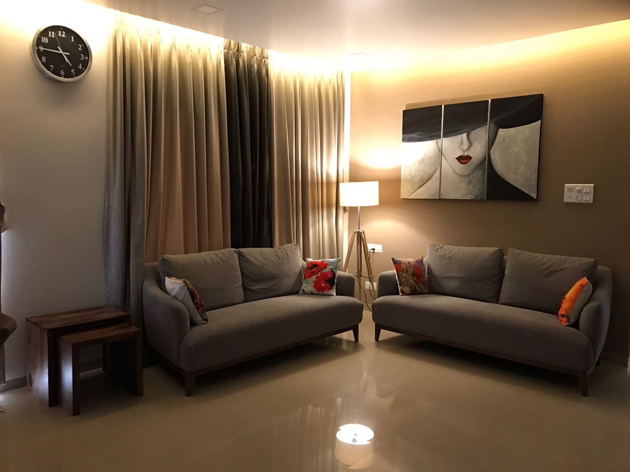 Living room with Grey sofas and glossy beige flooring by Simi Jajoo Living-room Contemporary   Interior Design Photos & Ideas