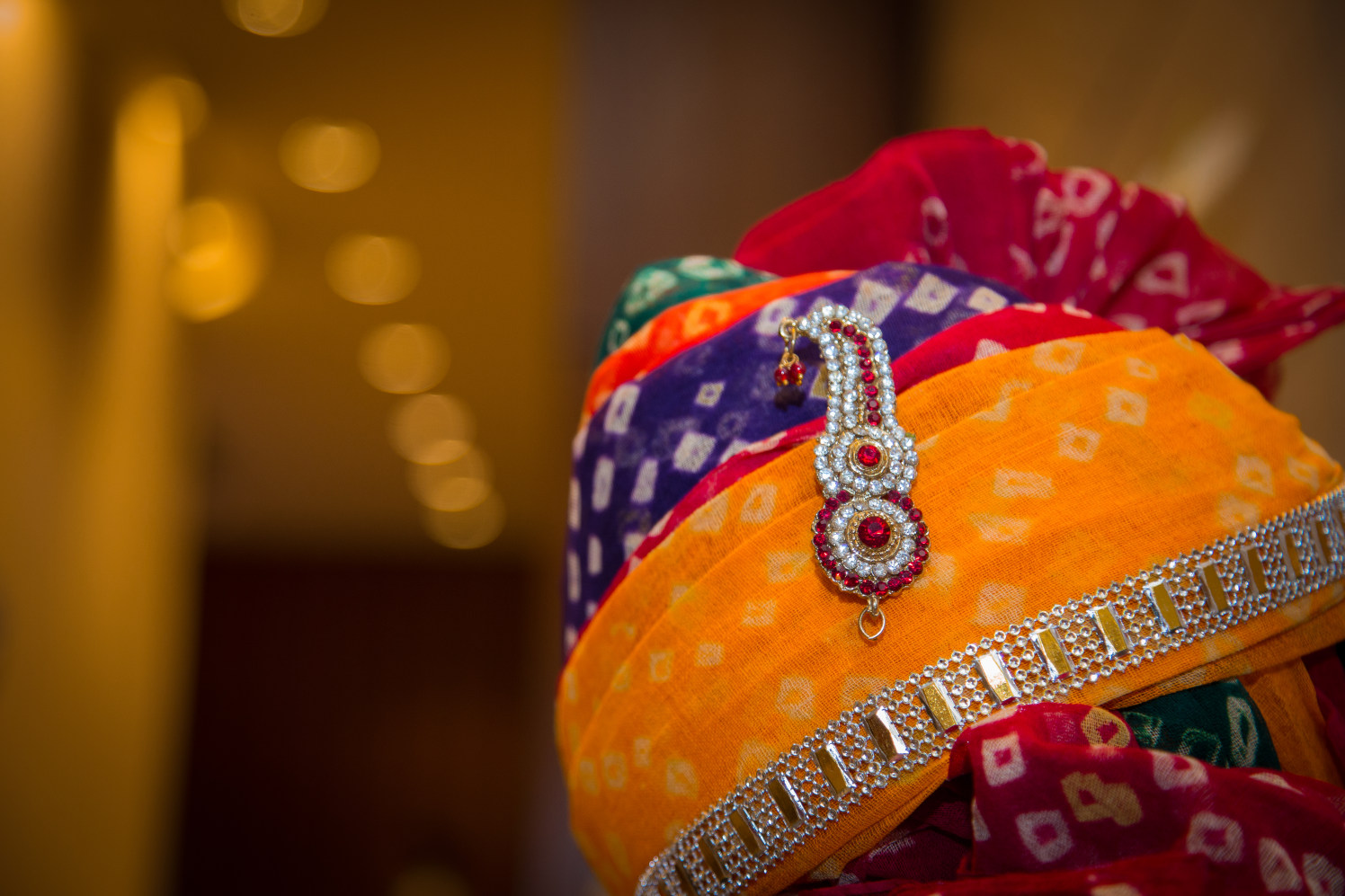 Multi-Colored Rajasthani Turban With Brooch And Stone Work by Prem Botre Wedding-photography Groom-wear-and-accessories | Weddings Photos & Ideas