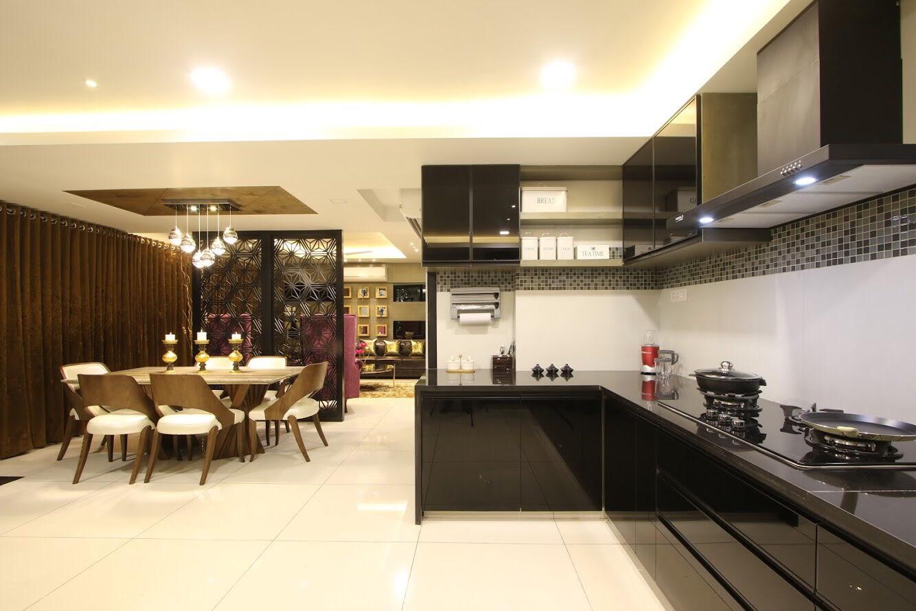 Black L Shaped Kitchen Modular Kitchen by Dhwani Patel Modular-kitchen Eclectic | Interior Design Photos & Ideas