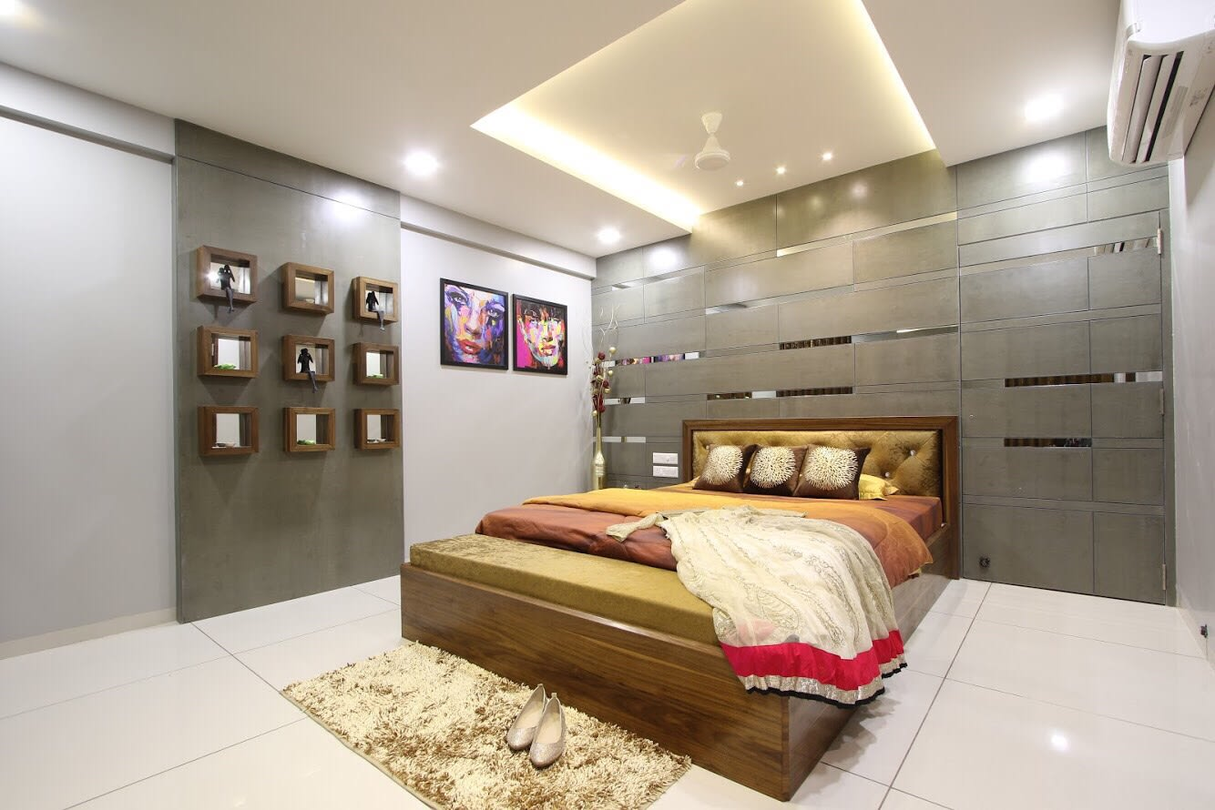 Low Rise  Bed And Wooden Blocks by Dhwani Patel Bedroom Contemporary | Interior Design Photos & Ideas
