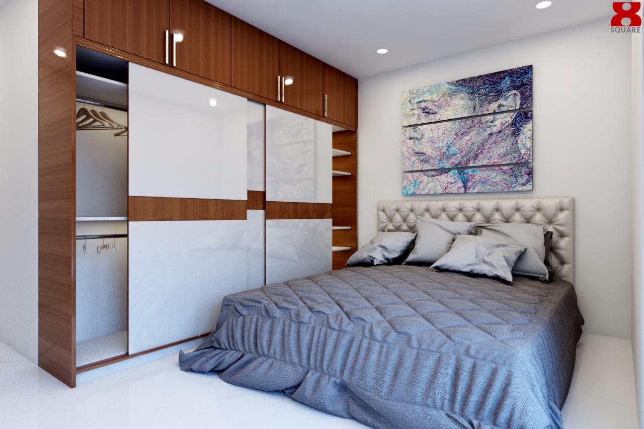 Cushioned Bedroom With Sliding Wardrobe by Gijo George Bedroom Contemporary | Interior Design Photos & Ideas
