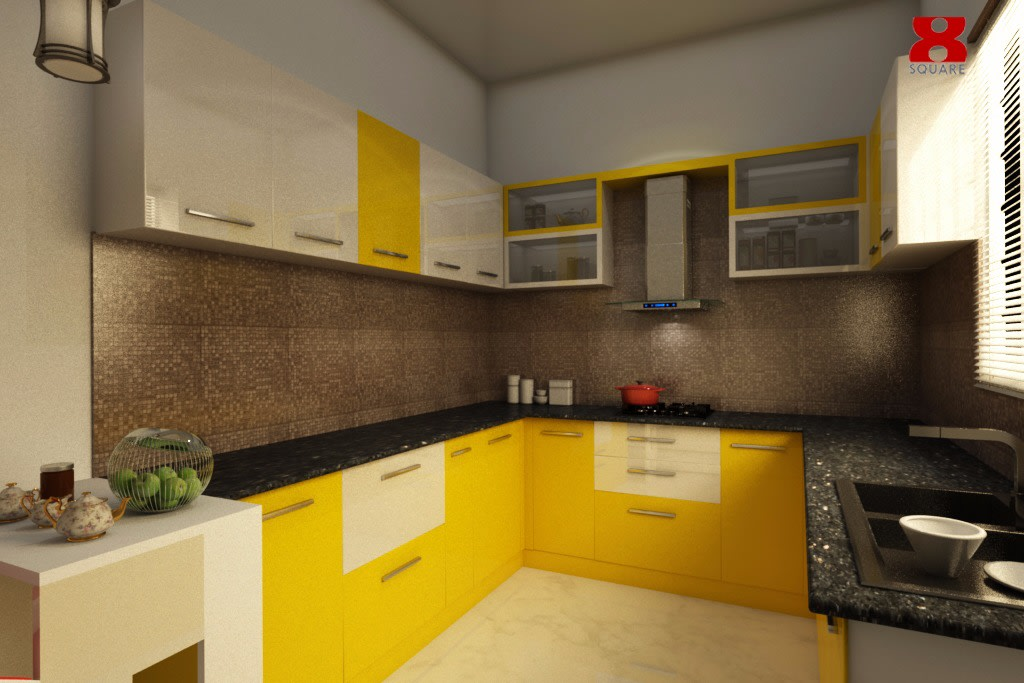 Lemon Green U Shaped Modular Kitchen by Gijo George Modular-kitchen Contemporary | Interior Design Photos & Ideas