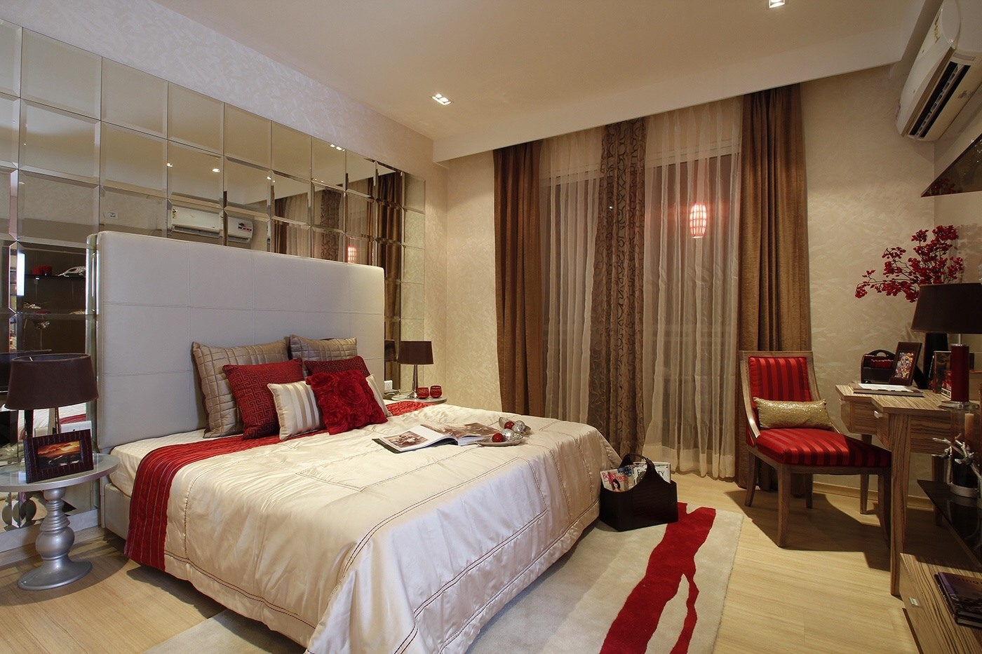 Bedroom With Huge Cushioned With Glass Wall IN Background ...