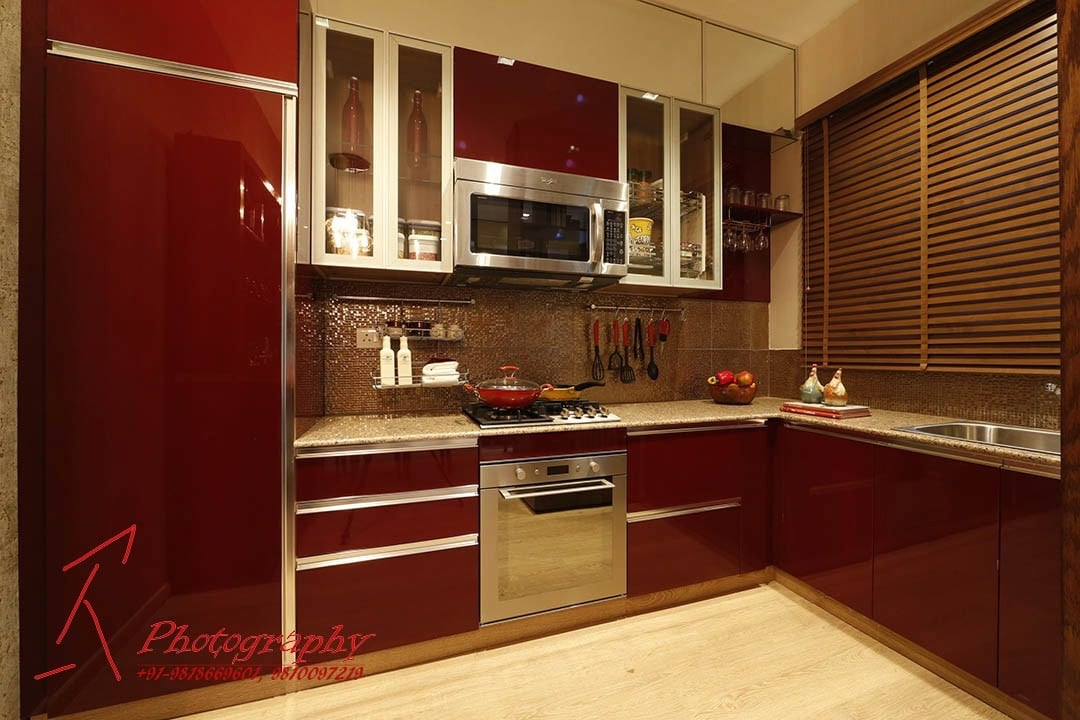 Modular L Shape Kitchen With Red Color Cabinets By Nikita Bonaparte