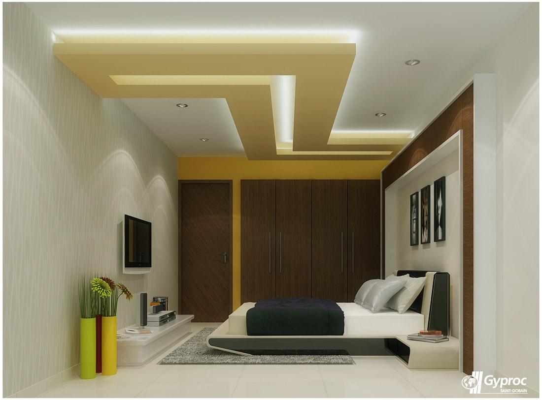 Beige Colored Bedroom with Wall Mounted Wooden Wardrobe by Kundan Sharma Bedroom Contemporary | Interior Design Photos & Ideas