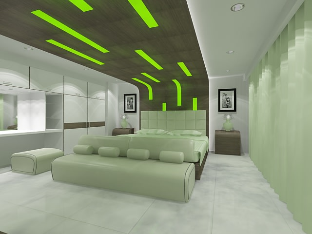 Mint Green Contemporary Bedroom With Marble Flooring by Kundan Sharma Bedroom Contemporary | Interior Design Photos & Ideas