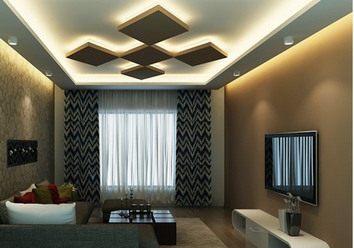 Living Space With Sheer Curtains And  Artistic False Ceiling by Kundan Sharma Living-room Contemporary | Interior Design Photos & Ideas