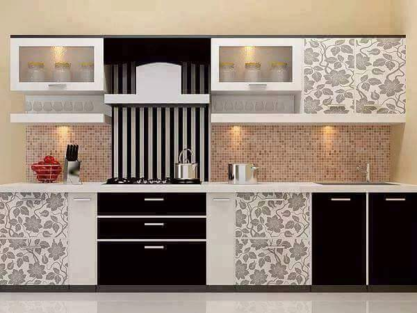 Black And White Colored Modular Kitchen With Flower Pattern by Kundan Sharma Modular-kitchen Modern | Interior Design Photos & Ideas